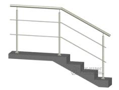 Конструкция №1 - ограждение из нержавеющей стали с двумя ригелями