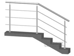 Конструкция №2 - ограждение из нержавеющей стали с тремя ригелями